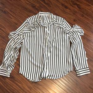 Tops - Papaya black and white stripped shirt